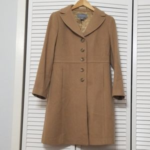 Long Wool Cashmere Camel Colored Coat.